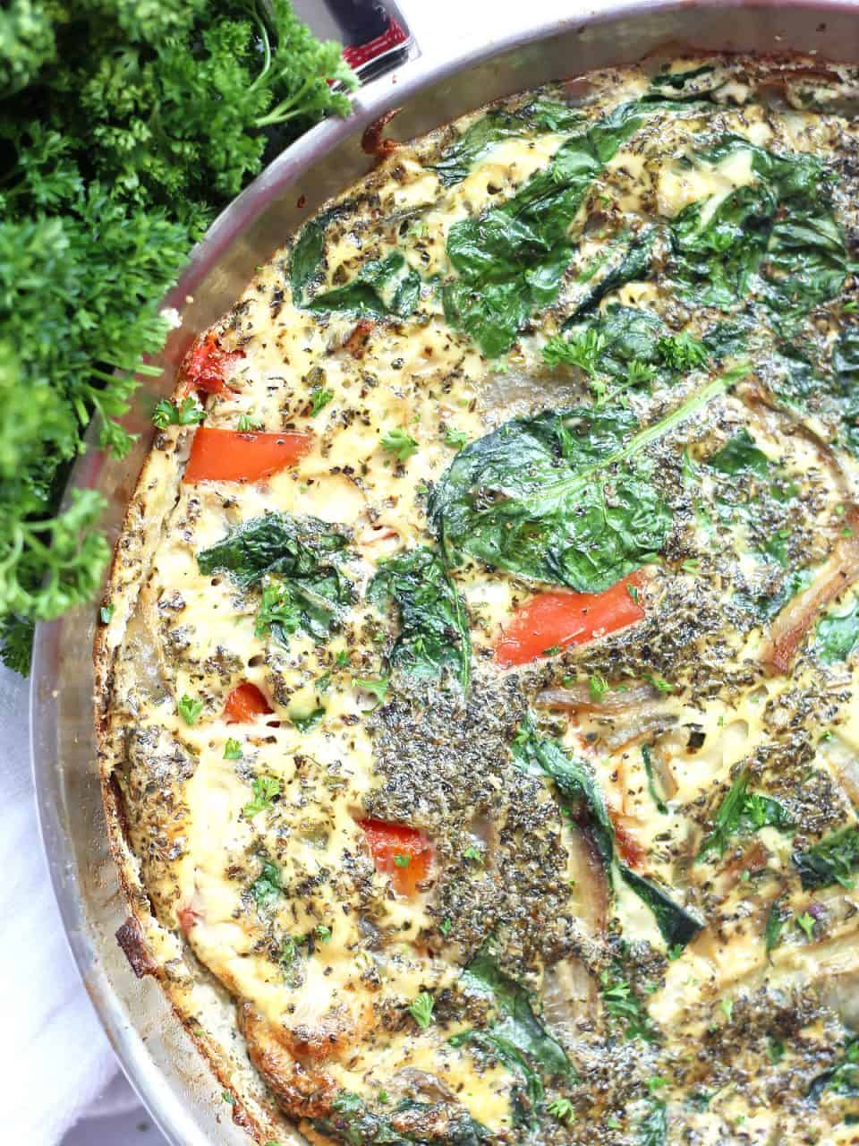 Close up of the egg white frittata in a skillet ready to serve.