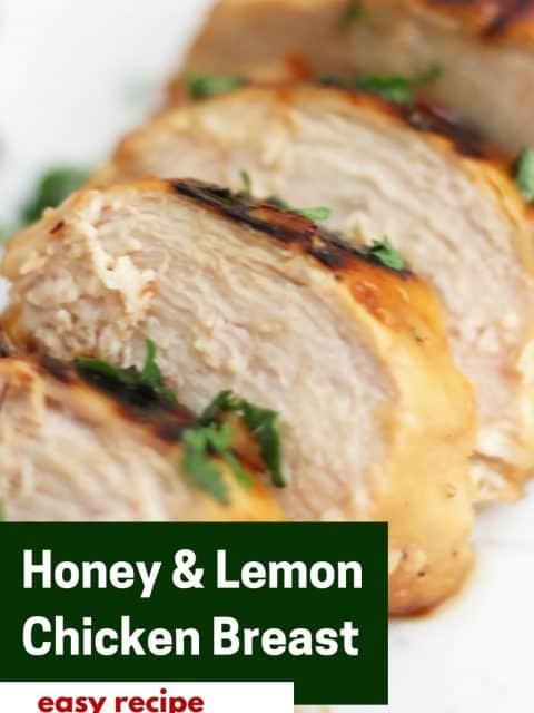 Pinterest graphic. Honey lemon chicken with text.