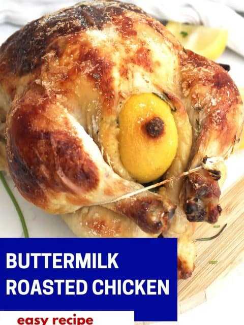 Pinterest graphic. Buttermilk roasted chicken with text.