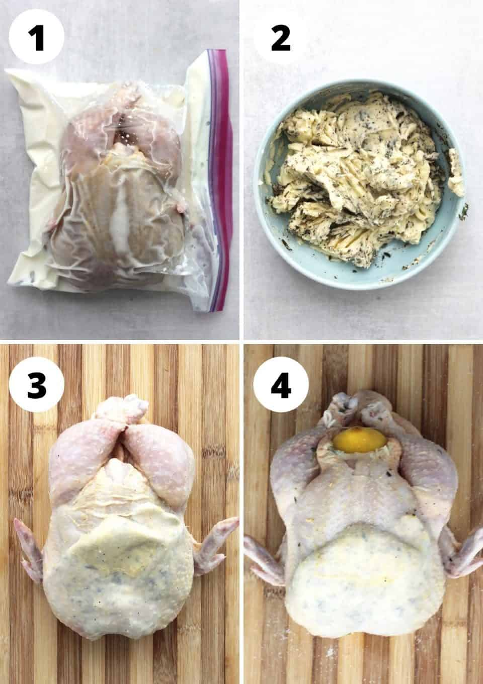 Four step by step photos to show how to marinate and prep the chicken before roasting it.