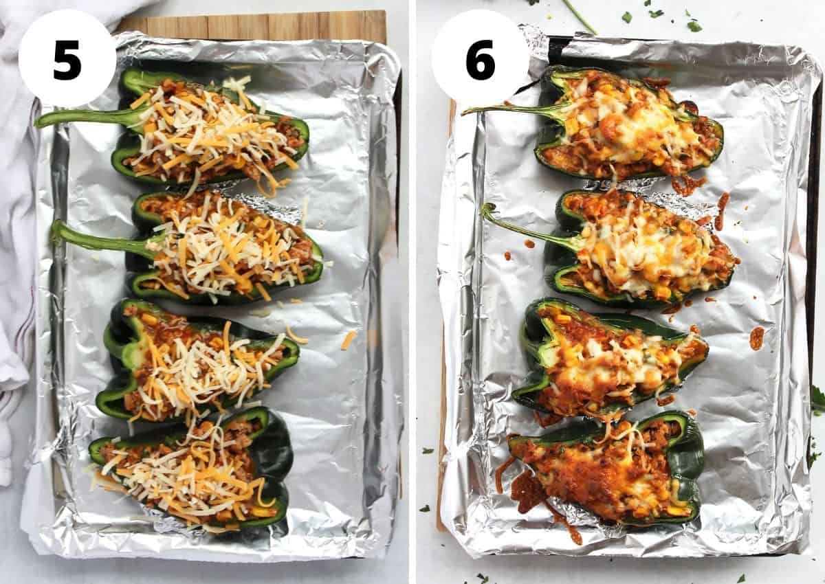Two photos showing the stuffed peppers before and after baking.