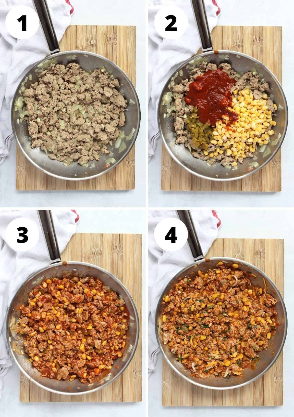 Four step by step photos to show how to make the chicken filling.