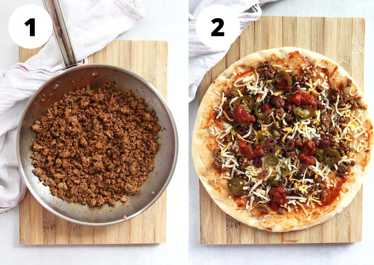 Two step by step photos to show how to cook the taco beef and top the pizza base.