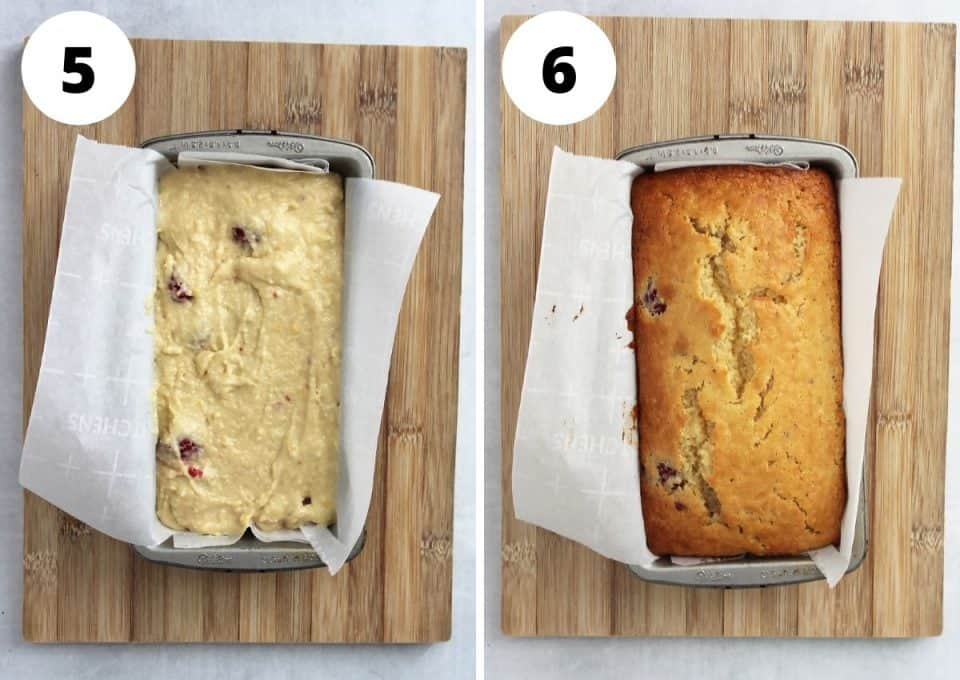 The batter in a loaf tin before and after baking.