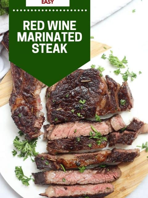 Pinterest graphic. Red wine marinated steak with text.