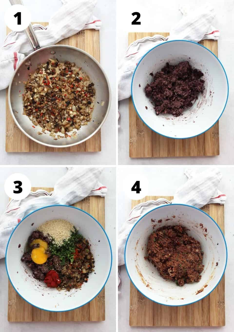 Four step by step photos to show how to make the bean burger mix.