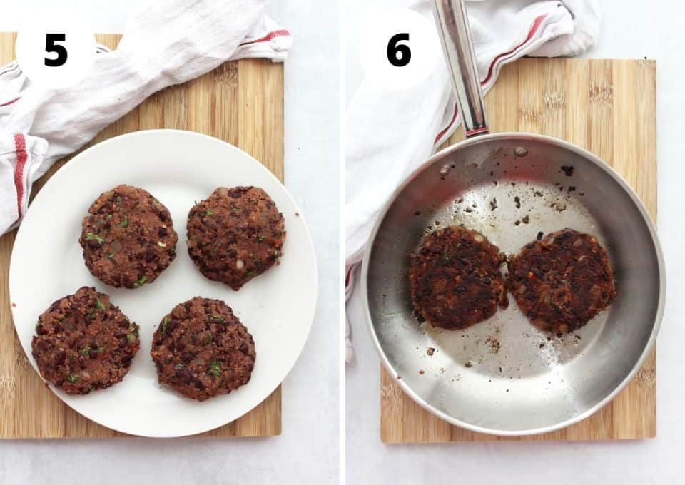 Two step by step photos to show how to shape and cook the burger patties.