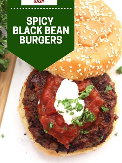 Pinterest graphic. Spicy black bean burgers with text.