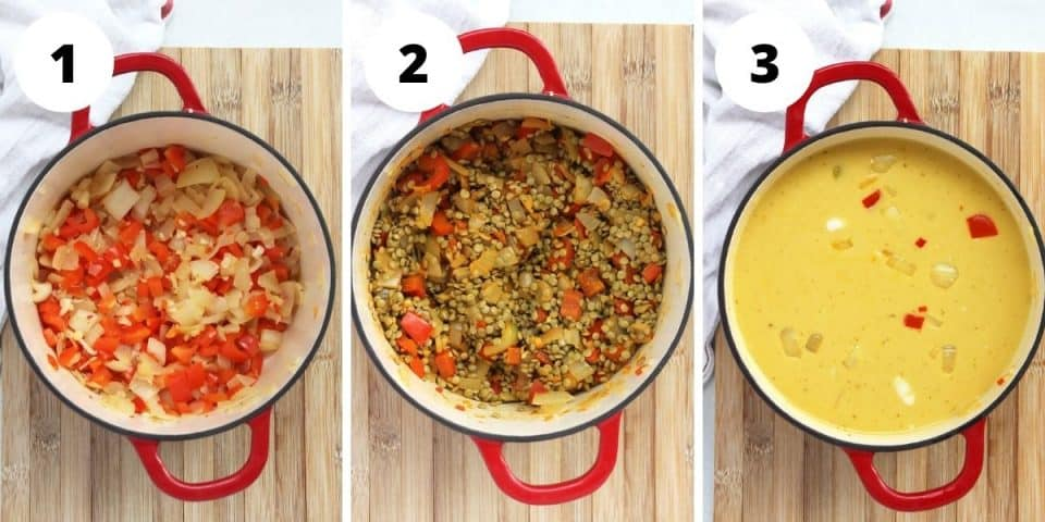 Three step by step photos to show how to make the soup in a dutch oven.