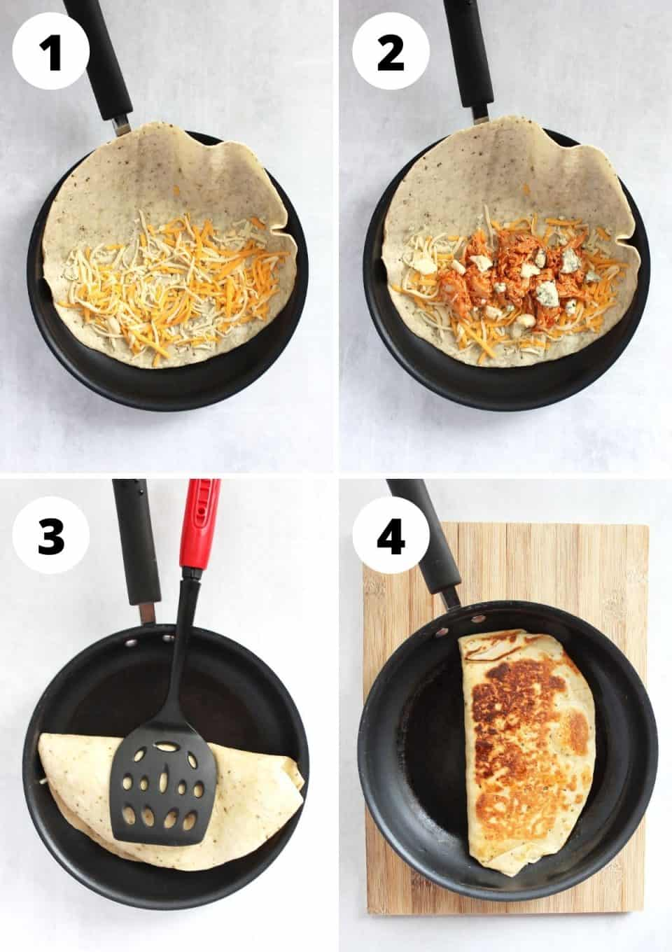 Four step by step photos to show how to make a quesadilla in a skillet.