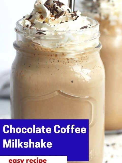 Pinterest graphic. Chocolate coffee milkshake with text.