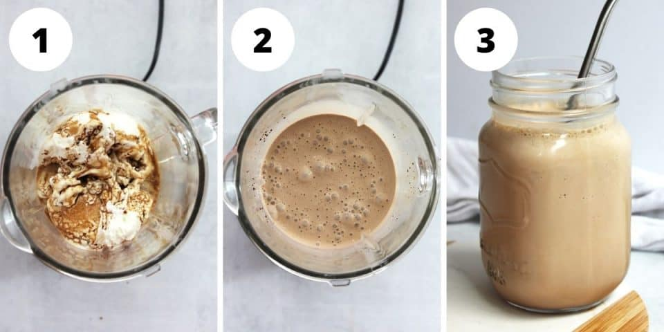 Three step by step photos to show how to make the milkshake in a blender.