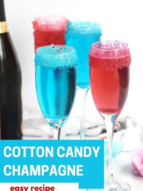 Pinterest graphic. Cotton candy champagne cocktails with text.