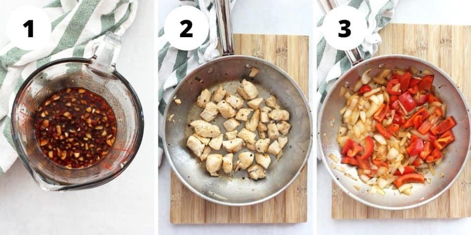 Three step by step photos showing the sauce, browned chicken and cooked vegetables.