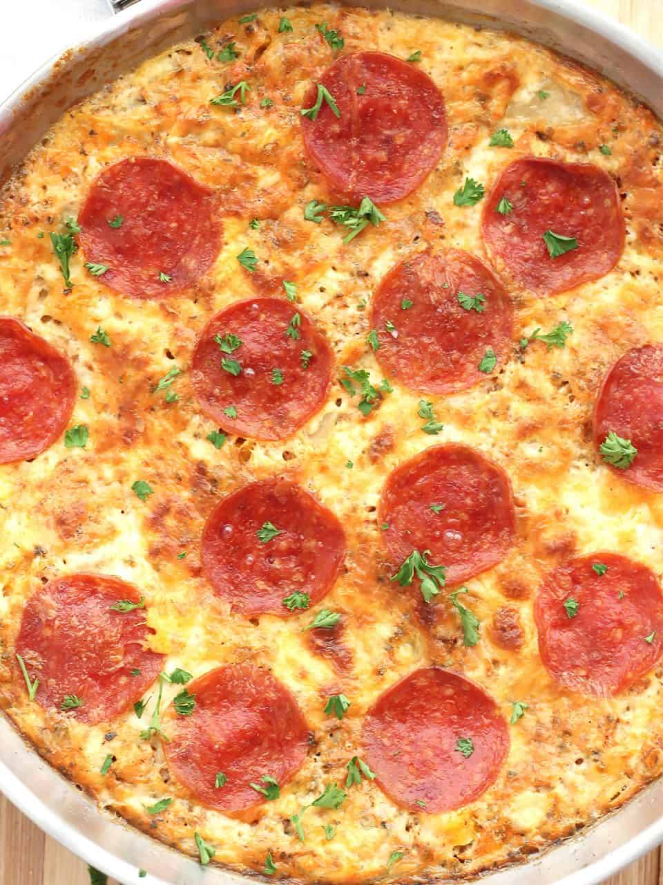 Close up of the pepperoni on top of the frittata.