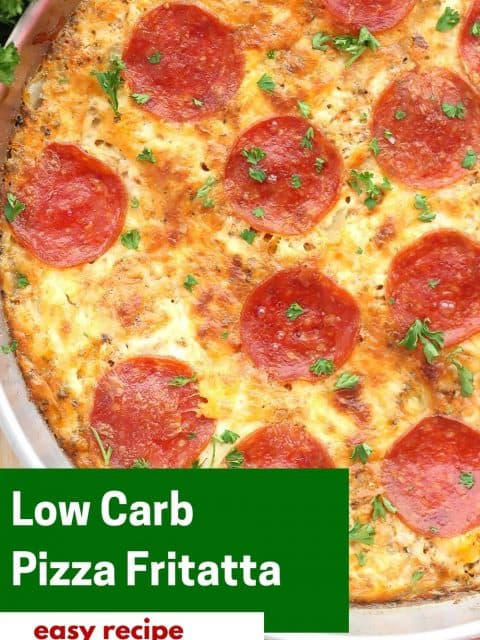 Pinterest graphic. Pepperoni pizza frittata with text.