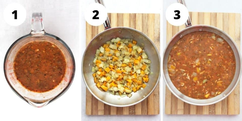 Three step by step photos to show how to make the frittata.