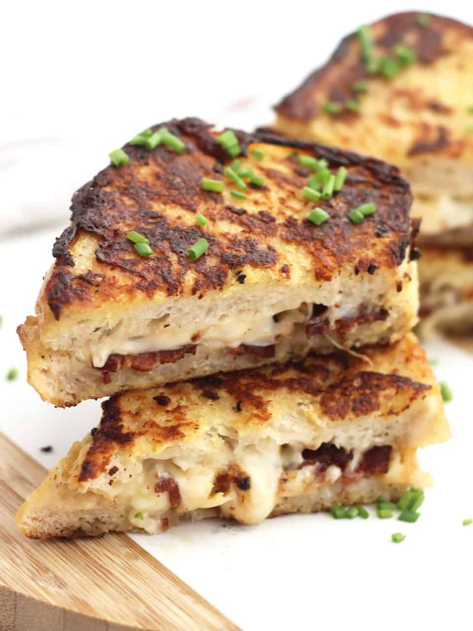 Two pieces of savory French toast stacked on top of each other.