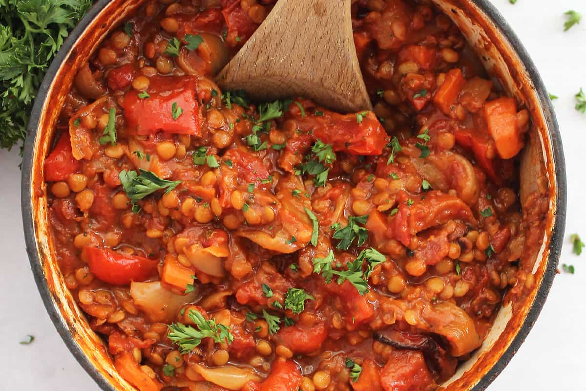 Close up of the lentil bolognese in a Dutch oven.