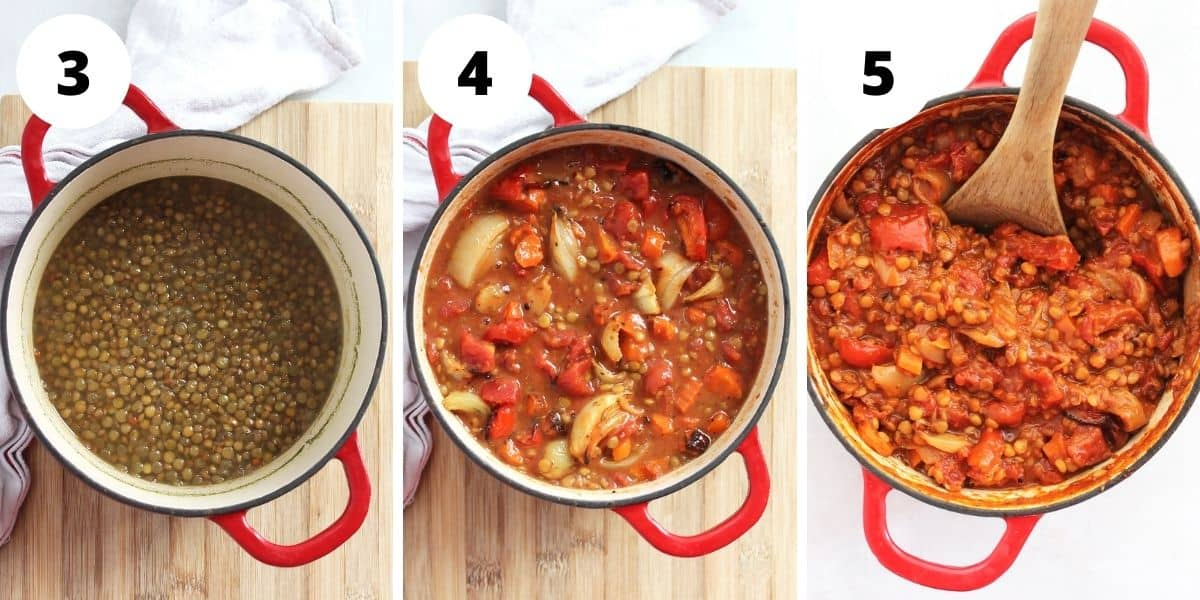 Three step by step photos to show the cooked lentils with the roasted vegetables added in and the finished dish in a Dutch oven.