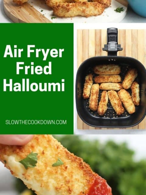 Pinterest graphic. Air fryer halloumi with text overlay.