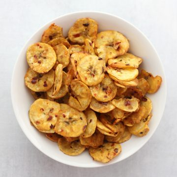 A bowl of air fried plantain chips.