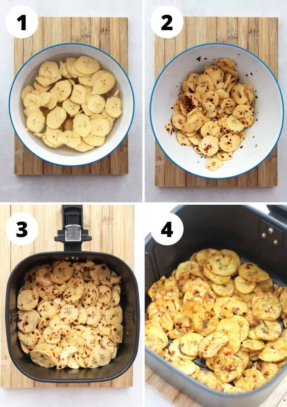 Four step by step photos to show how to make plantain chips.
