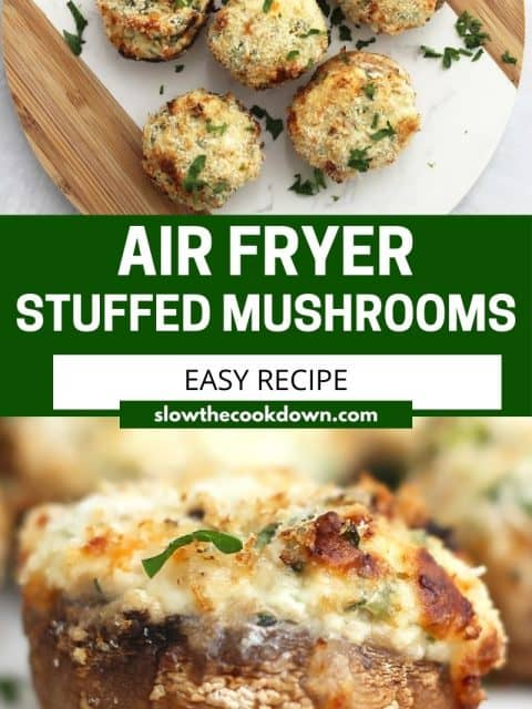 Pinterest graphic. Air fryer stuffed mushrooms with text overlay.