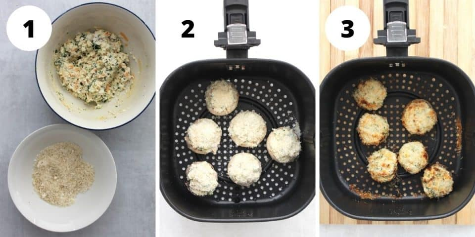 Three step by step photos to show how to make and cook the mushrooms.