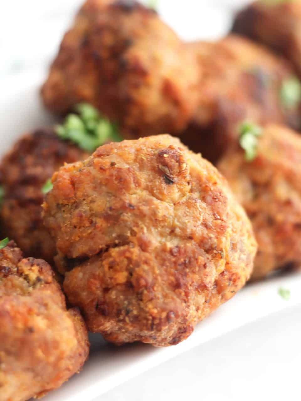 Close up of an air fried turkey meatball.