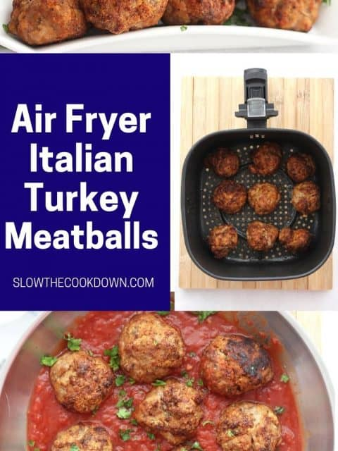 Pinterest graphic. Air fryer turkey meatballs with text overlay.