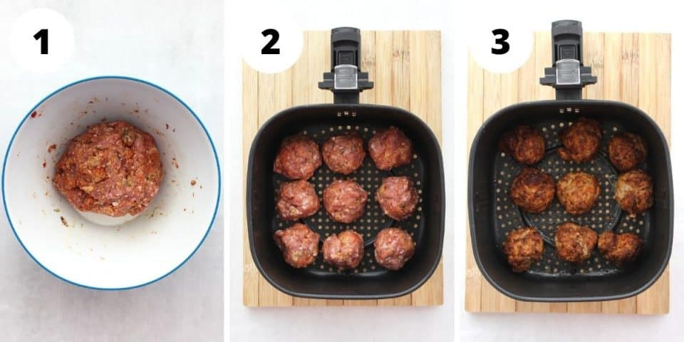 Three step by step photos to show how to make and cook the meatballs.