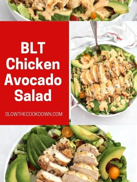 Pinterest graphic. BLT chicken avocado salad with text.