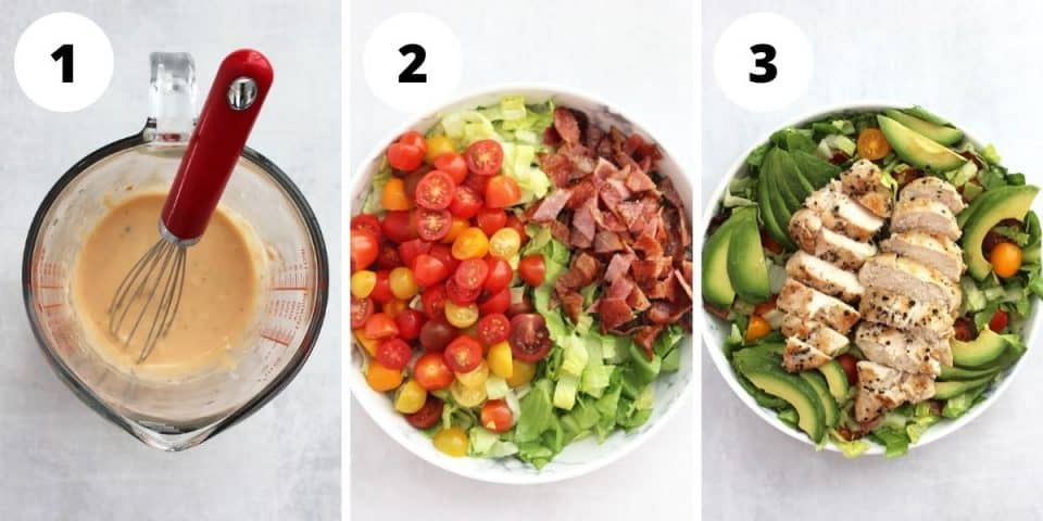Three step by step photos to show how to make the dressing and the salad.