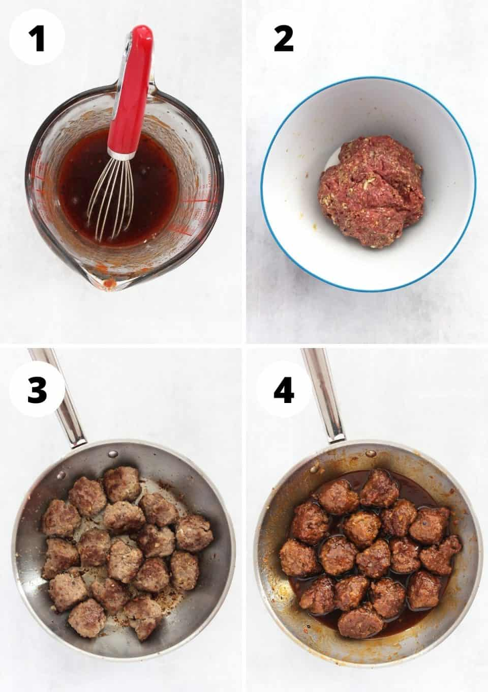 Four step by step photos to show how to make the sauce and the meatballs.