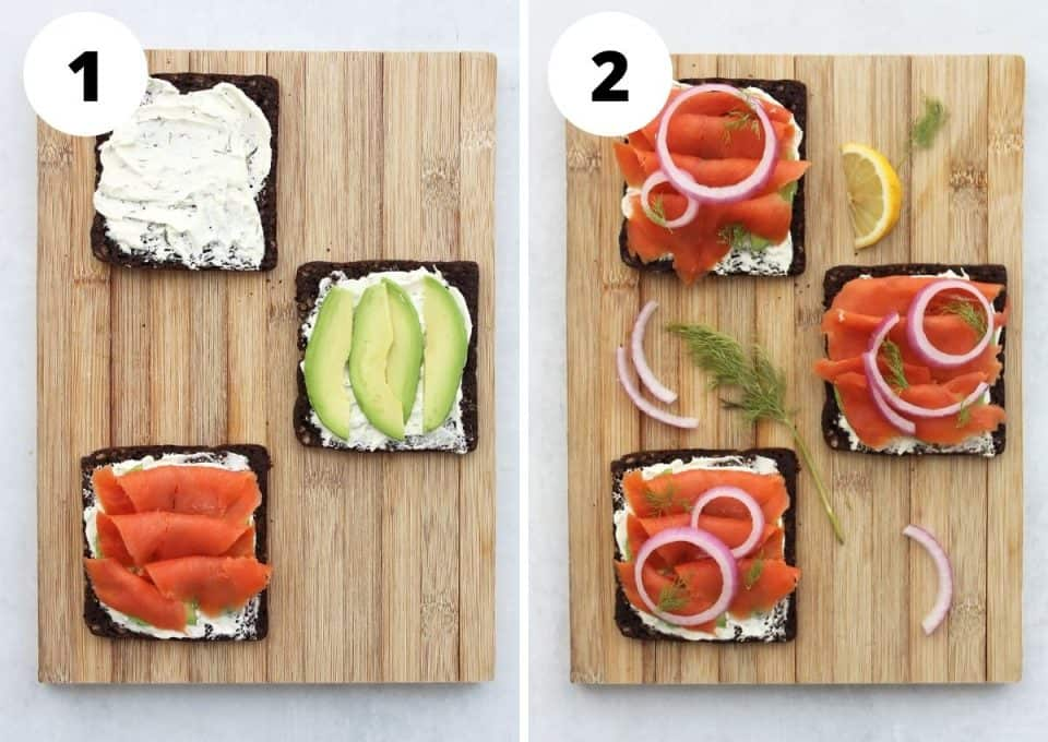 Two step by step photos to show how to layer the sandwiches and add the toppings.