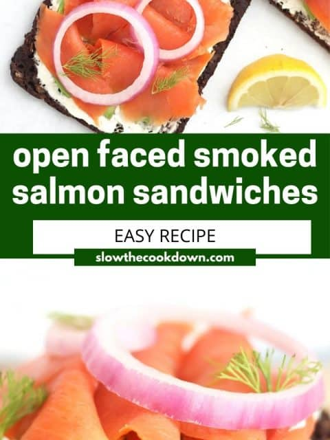 Pinterest graphic. Open faced smoked salmon sandwiches with text overlay.