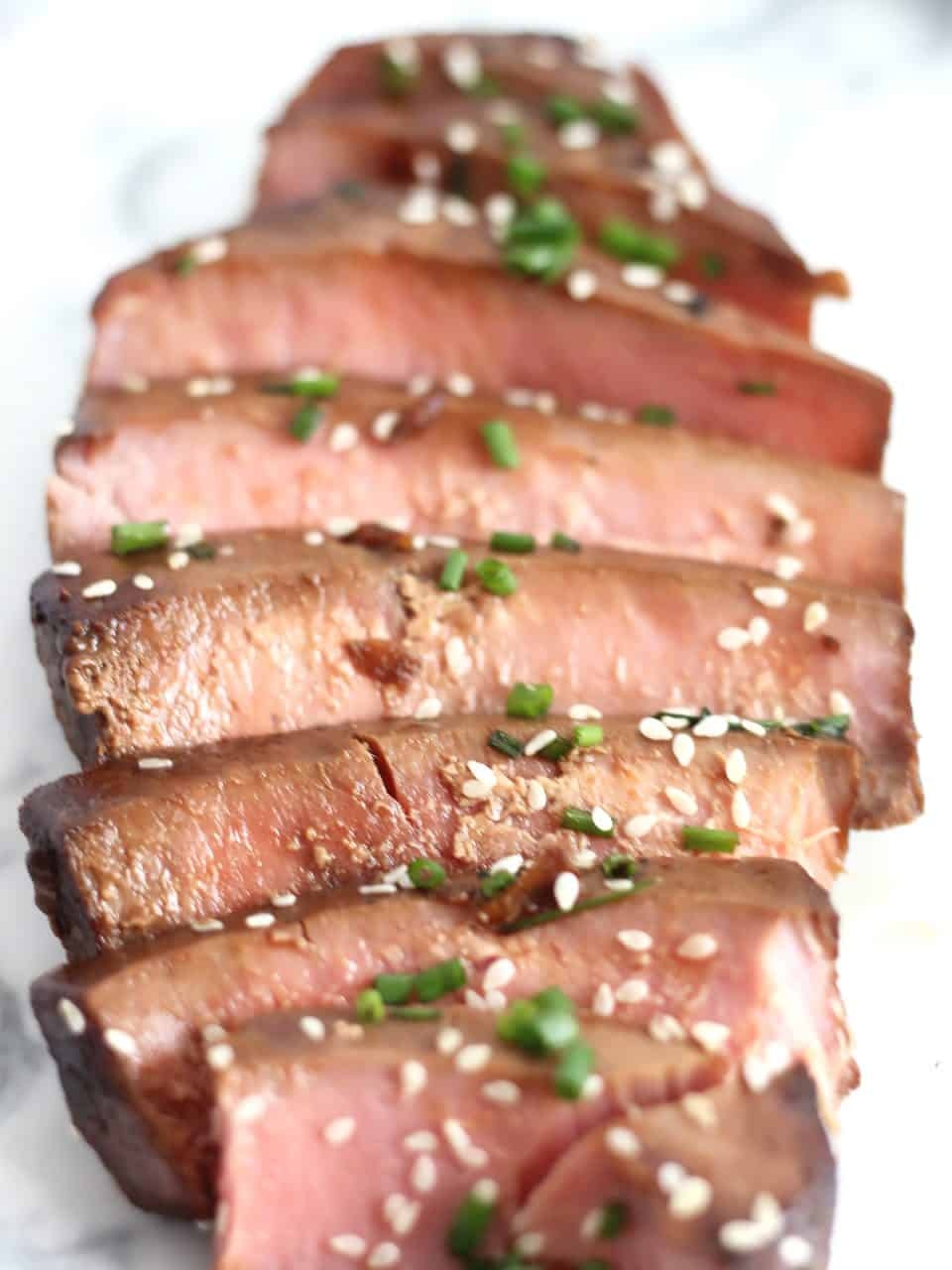 Close up of sliced tuna steak.