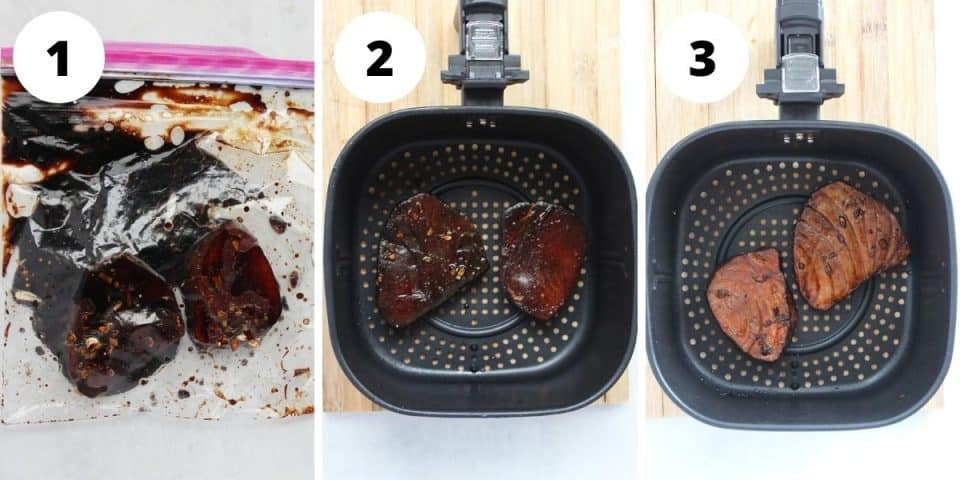 Three step by step photos to show how to marinate and cook the tuna.