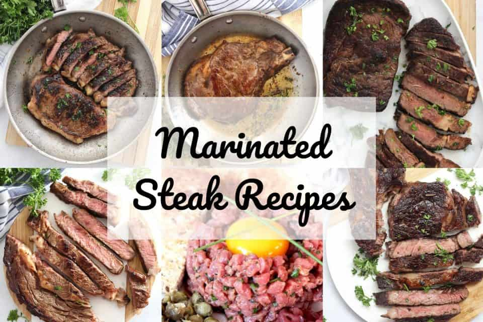 Collage of six marinated steak recipes with text overlay.