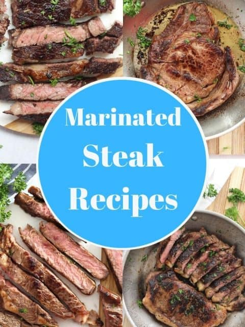 Collage of four marinated steak recipes with text overlay.
