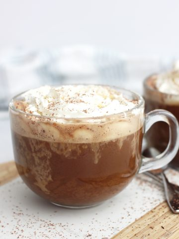A coconut mocha topped with cream.