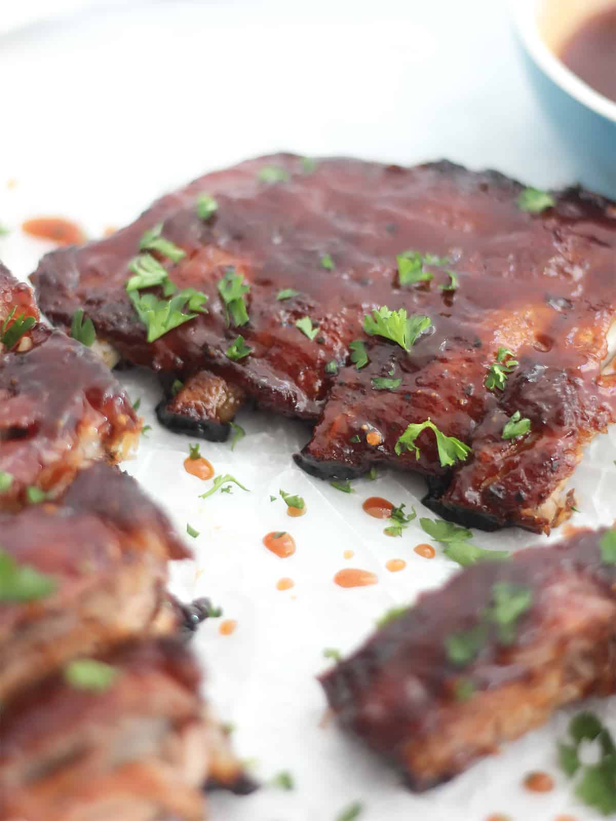 Oven baked ribs with glaze ready to eat.