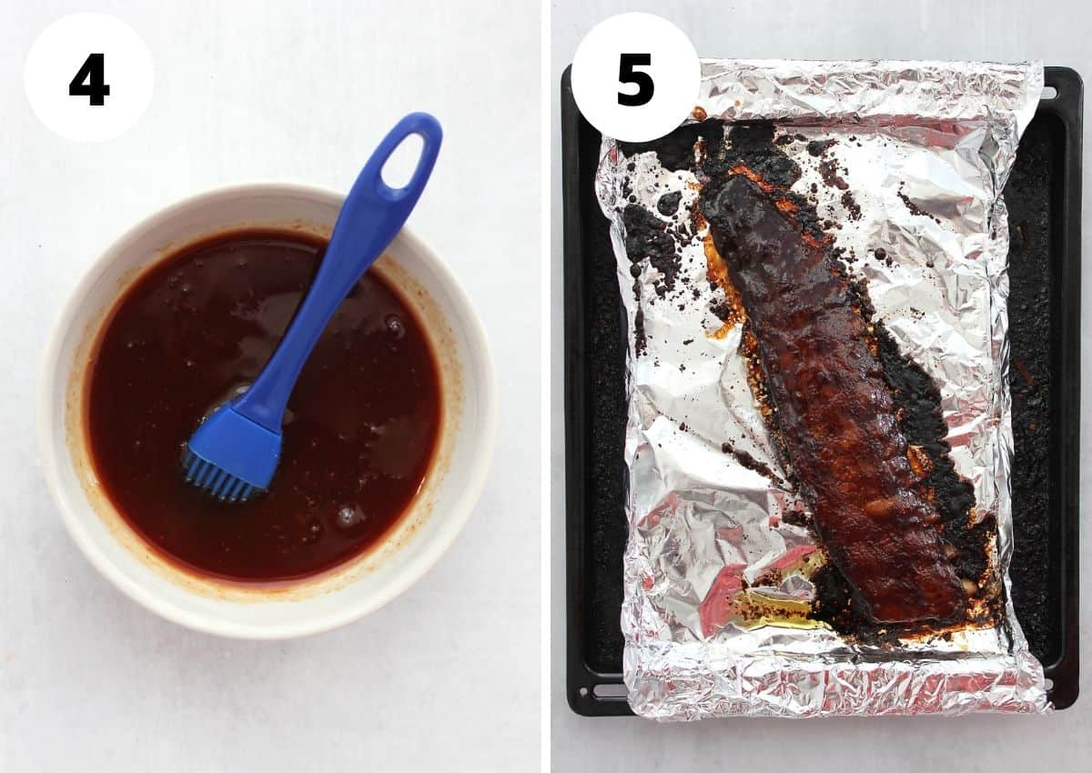 The maple bbq sauce in a bowl and brushed on the ribs.