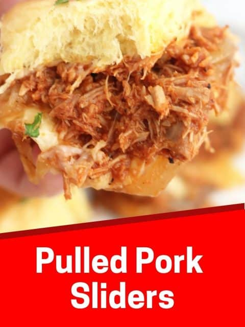 Pinterest graphic. Pulled pork sliders with text overlay.