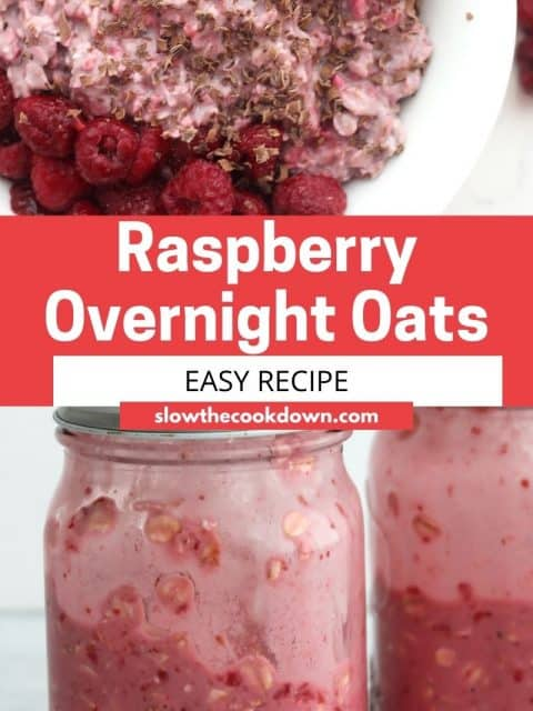 Pinterest graphic. Raspberry overnight oats with text overlay.